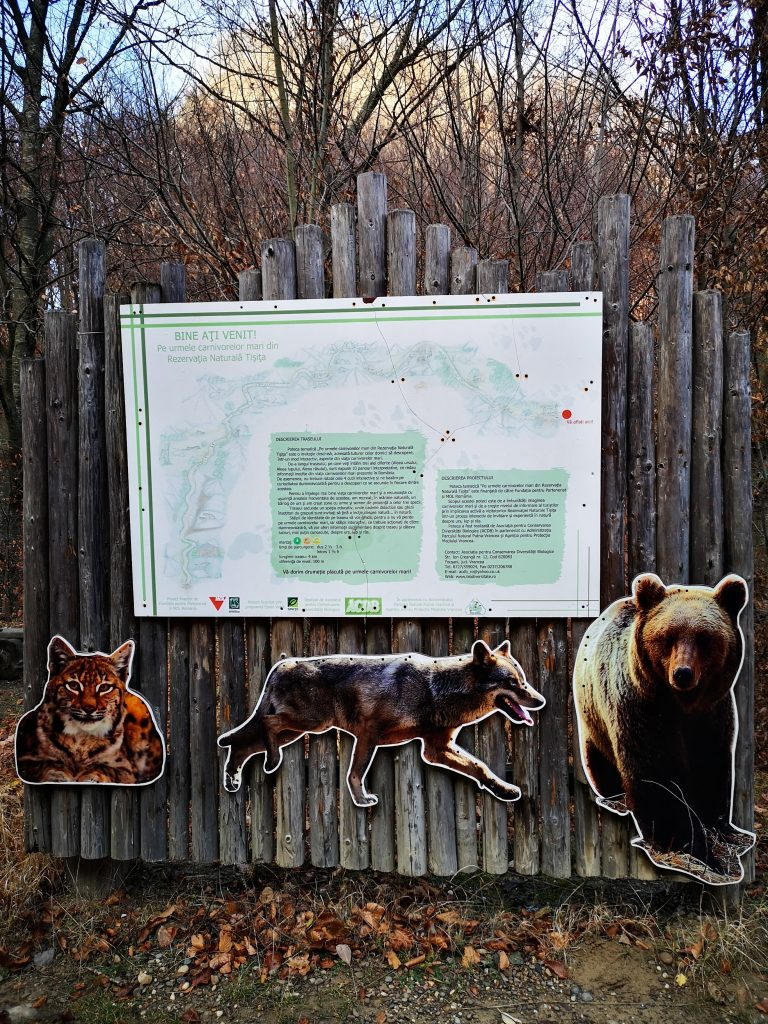 Informative board with information about animals in the region
