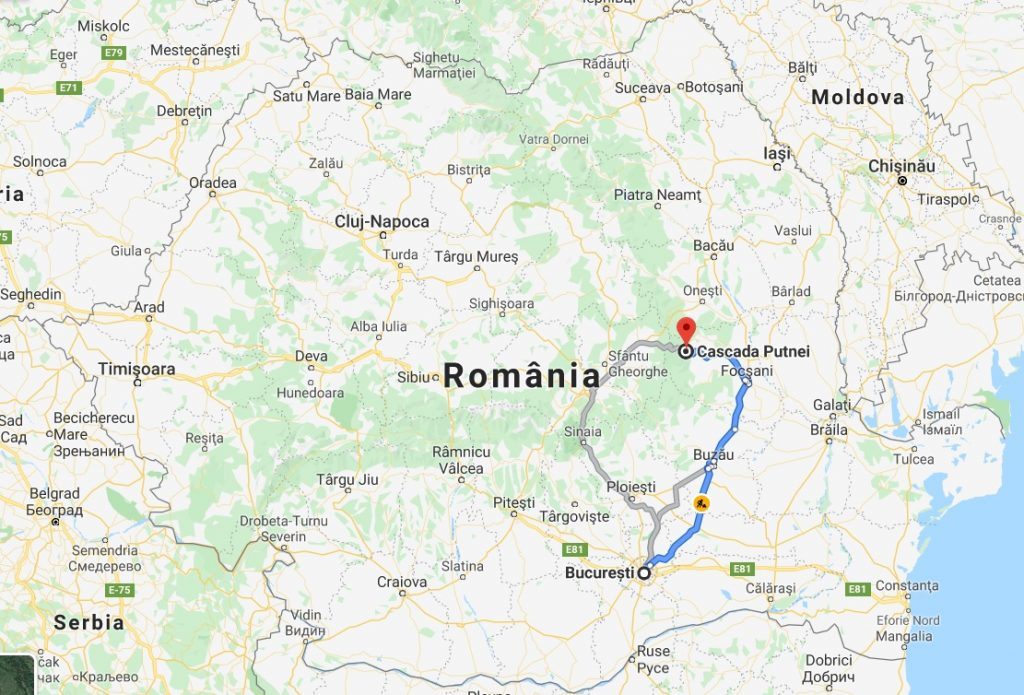 Romania map - road from Bucharest to Putna Vrancea Natural Park