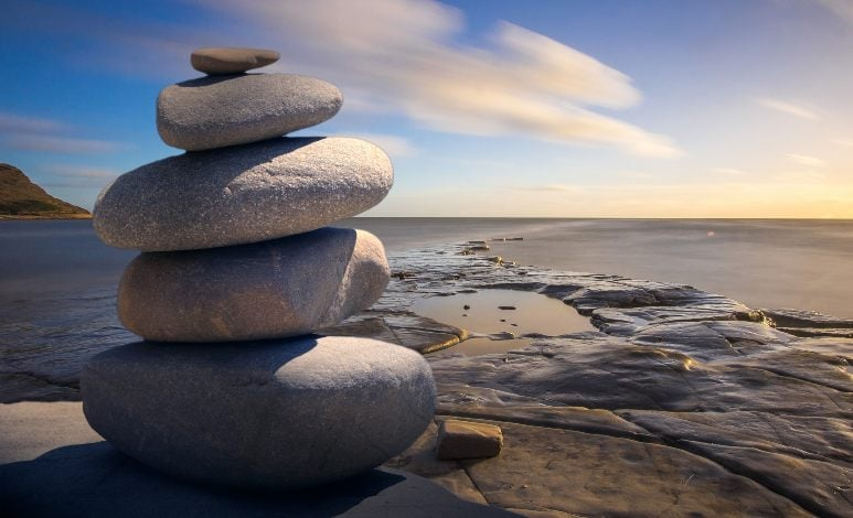 rocks in equilibrium on the seaside