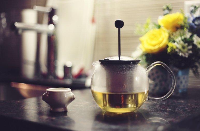Teapot on table