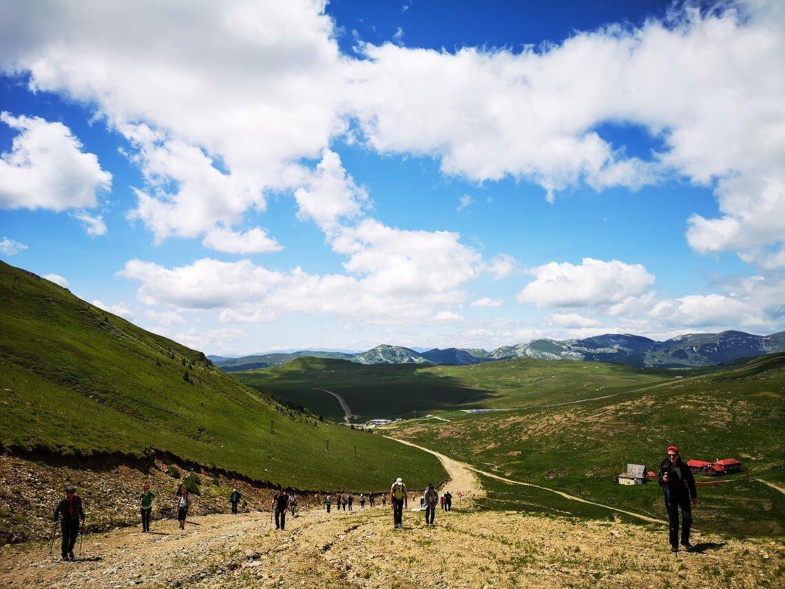 Group hiking in Bucegi National Park